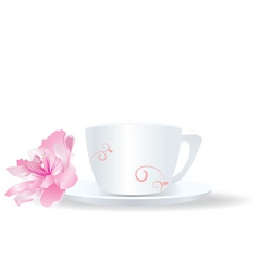 white cup with flower vector image vector image