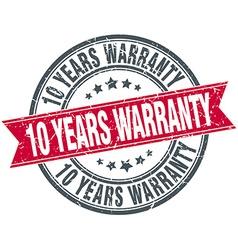 10 years warranty red round grunge vintage ribbon vector