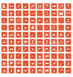 100 tools icons set grunge orange vector