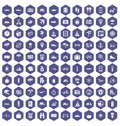 100 travel icons hexagon purple vector image vector image