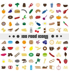 hundred various food and drink color icons big set vector image