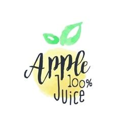 Apple 100 percent fresh juice promo sign vector