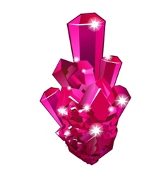 Piece of raw crystal ruby isolated vector