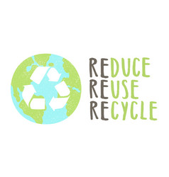 Reduce reuse recycle lettering and earth sign vector