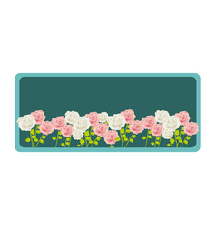 colorful rectangular frame with roses garden vector image
