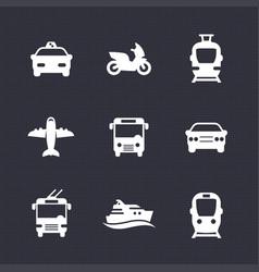 passenger transport icons set bus subway tram vector image