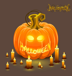 Cover halloween pumpkin with a face vector