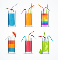 Realistic cocktail glass template drink set vector