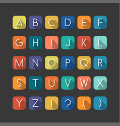 Colorfol english flat alphabet latin minimalistic vector