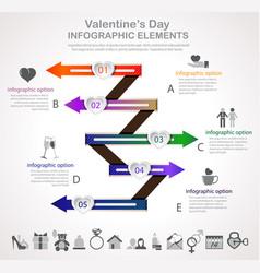 Valentines day arrow infographic vector