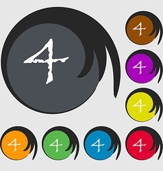 Number four icon sign symbols on eight colored vector