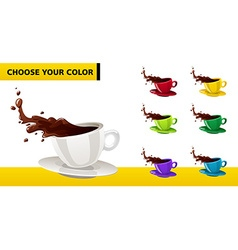 Multicolor coffee cup with liquid splashes and vector