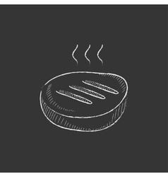 Grilled steak drawn in chalk icon vector