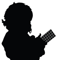 Child silhouette with chocolate vector