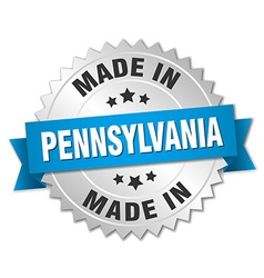 Made in pennsylvania silver badge with blue ribbon vector
