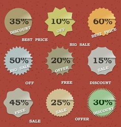 9 vintage sale labels vector