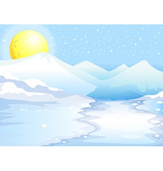 A moon and snow mountains vector image vector image