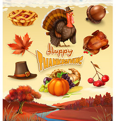 Autumn happy thanksgiving cartoon character and vector