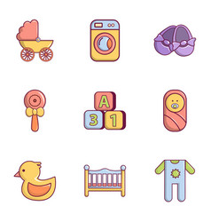 Baby born icons set flat style vector