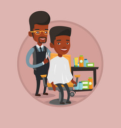 barber making haircut to young man vector image