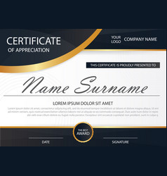 Black elegance horizontal certificate with vector