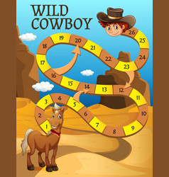 Boardgame template with horse in desert vector