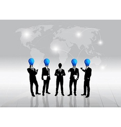 Business people silhouette and bulb head man vector image