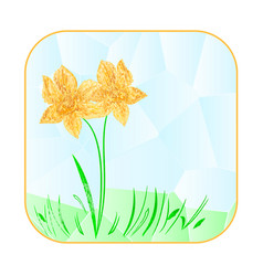 Button squared easter daffodil polygons vector
