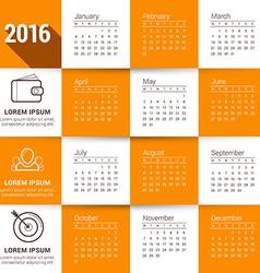 Calendar template calendar 2016 week starts monday vector
