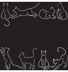 Cat silhouette border vector