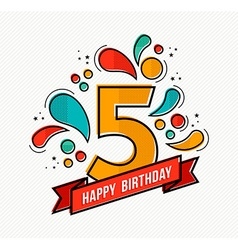 Colorful happy birthday number 5 flat line design vector