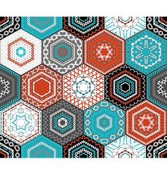 Coloured embroidered hexagons background vector