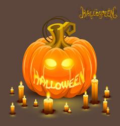 Cover halloween pumpkin with a face vector