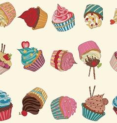 Cupcake pattern vector