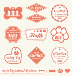 Dog name tag labels vector