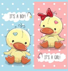 ducks boy and girl vector image vector image