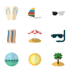 Flat icon season set of coconut surfing vector