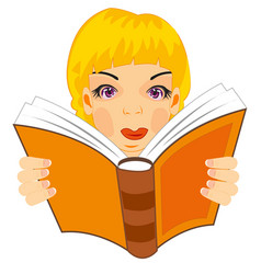 girl reads book vector image