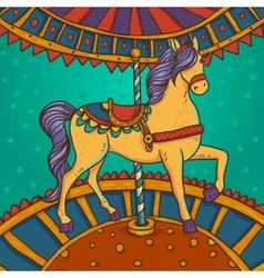 Horse with flowers and ornaments vector