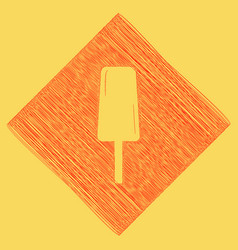 Ice cream sign red scribble icon obtained vector