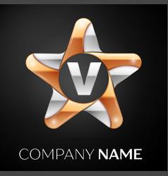 Letter v logo symbol in the colorful star on black vector