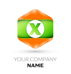 letter x logo in the colorful hexagonal vector image vector image