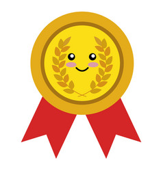 Medallion with wreath comic character vector
