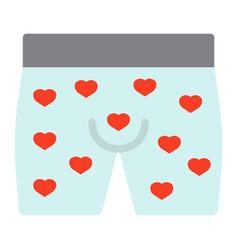men underwear with hearts flat icon vector image