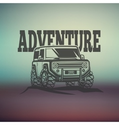 Off-road suv car monochrome labels emblems vector