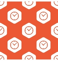Orange hexagon clock pattern vector