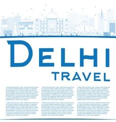 Outline delhi skyline with blue landmarks vector