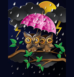 Owl holding an umbrella in the rain vector