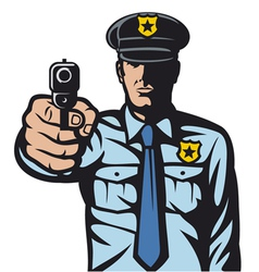 policeman pointing a gun vector image vector image