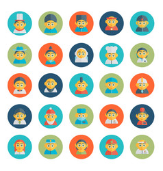 Set of cute character avatar icons in flat design vector